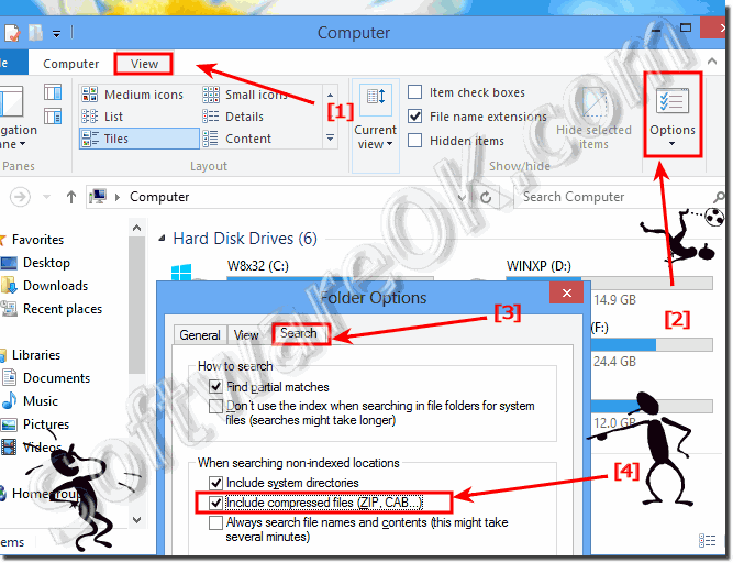 Turn off / on Enable or disable in Windows 8 compressed files searching