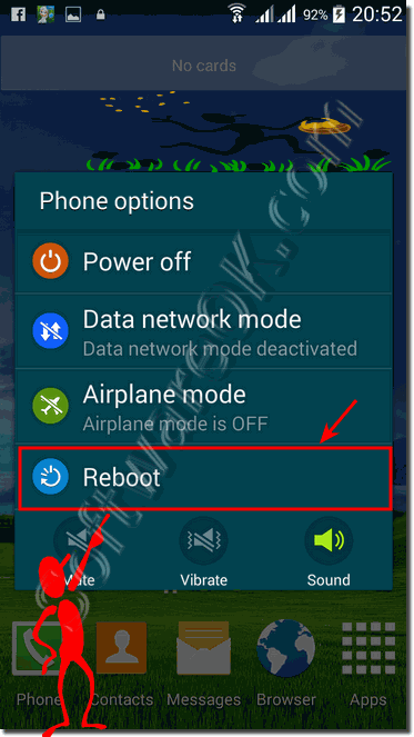 power off/on and restart of the android smart phone!