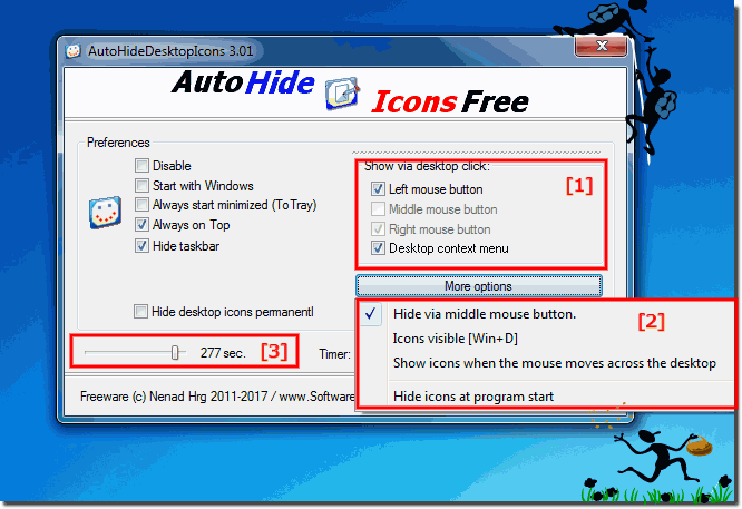 Windows Desktop icons Hide and Show by a Klick!