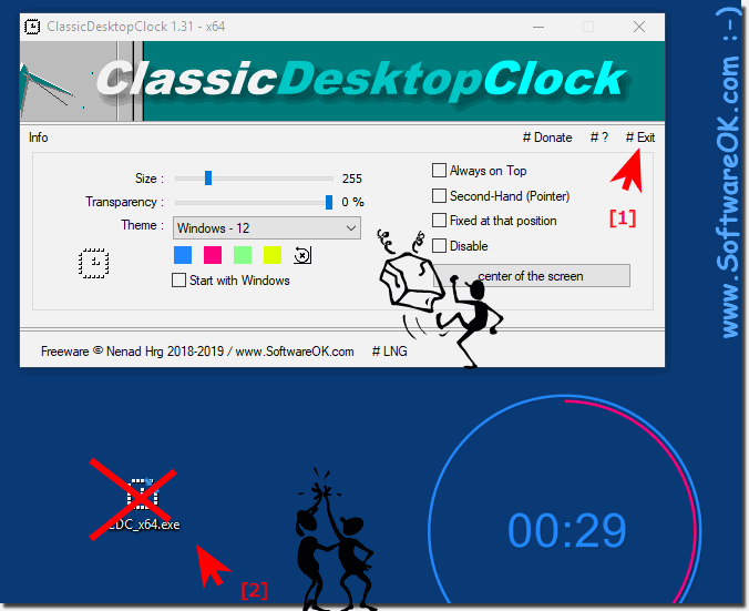 Remove or uninstall the classic desktop clock on Windows!