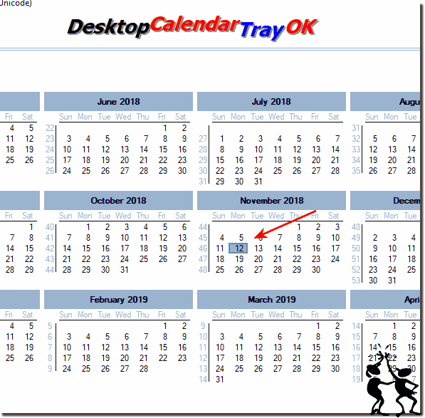 Desktop Calendar in Windows Tray and Today OK!