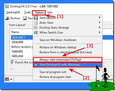 Start the program minimized at ms windows start and always!