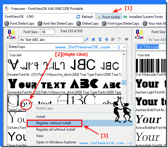 view and use the fonts without installing the font file