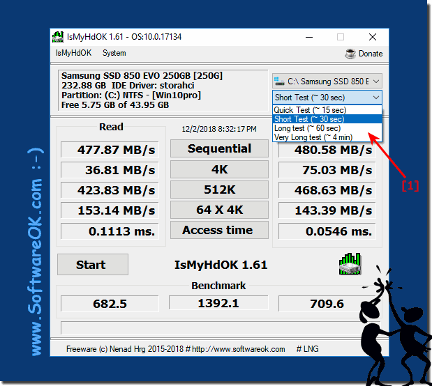 Customize e.g. Select the Benchmark-Time in IsMyHdOK!