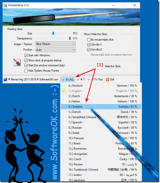 Change the language in the windows mouse pointer stick!