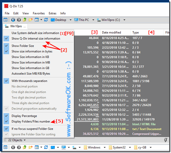 The folder size information in Explorer-Views!