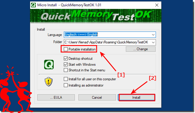 Portable memory test for Windows 10, 8.1 ... and Server!