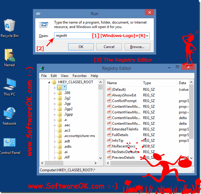 Start the Registry Editor on all Windows OS!