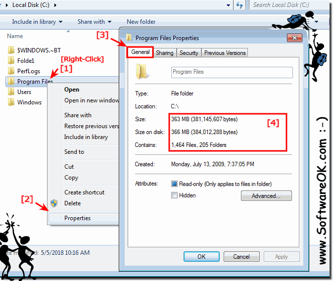 Folder size and folder size on disk in Windows 7, 8.1, 10 Explorer and on MS Server