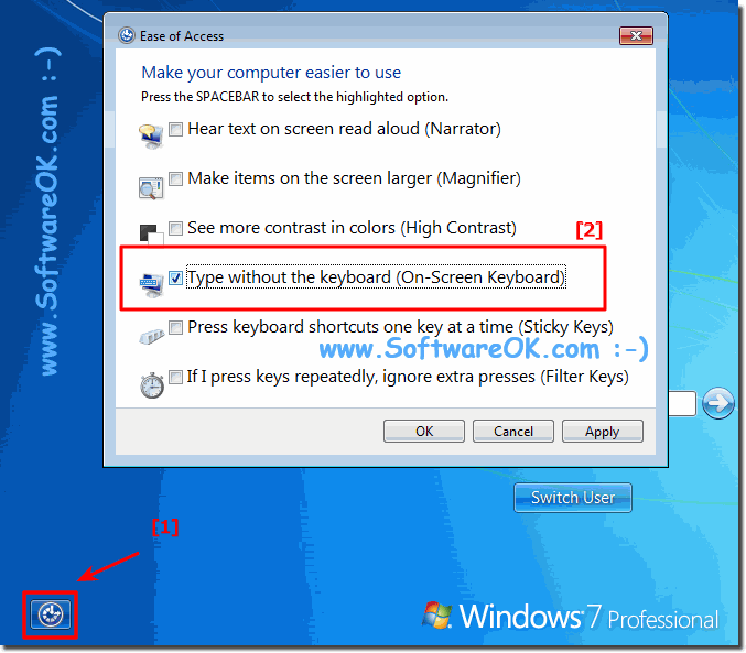 Login to Windows 7 without a keyboard connected