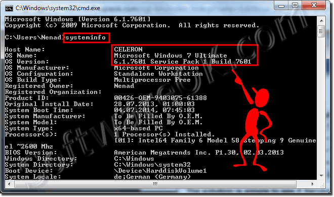See Service Pack via cmd.exe and systeinfo!
