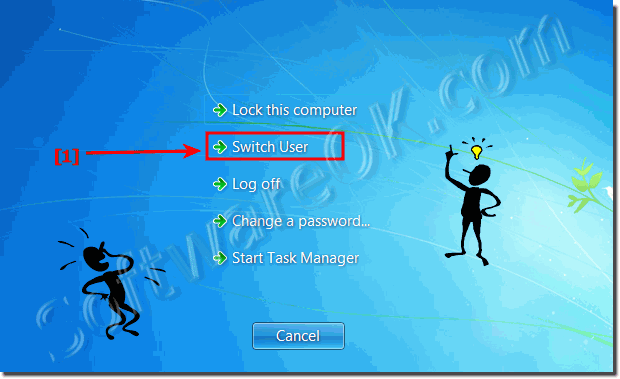 Switch users account in windows 7 without log-off!