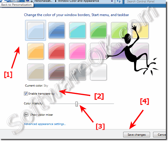 Windows-7 Personalization  of Window Color and Appearance
