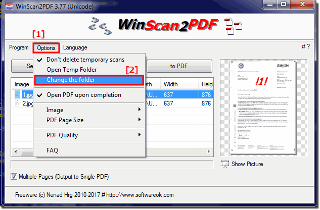 Change the default location for scanned PDF documents!