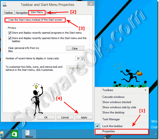 Activate the Start screen instead of Classic Start menu in Windows-10!