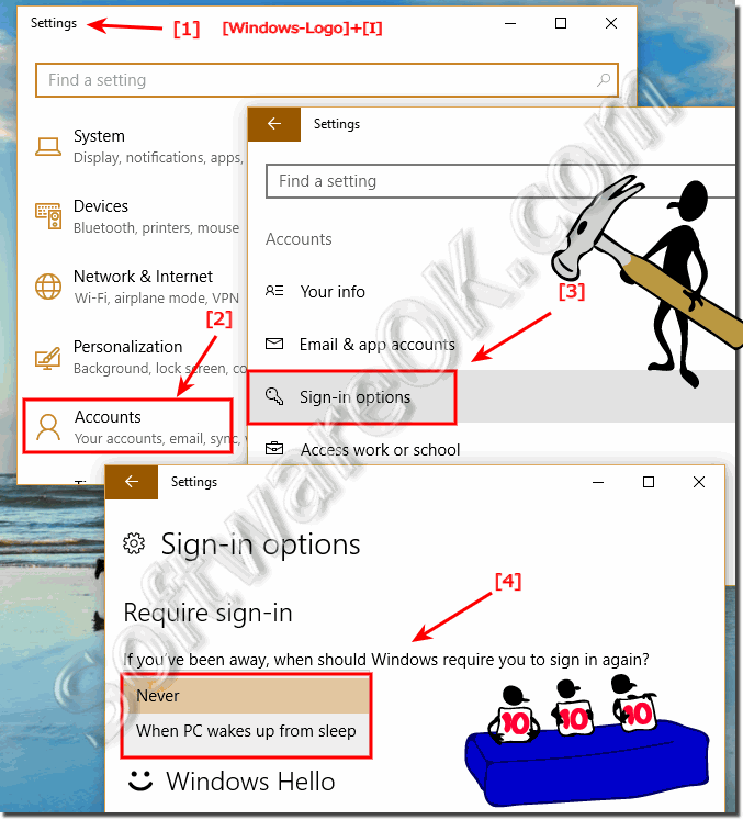 Disable Password when resume from Sleep in Windows 10!