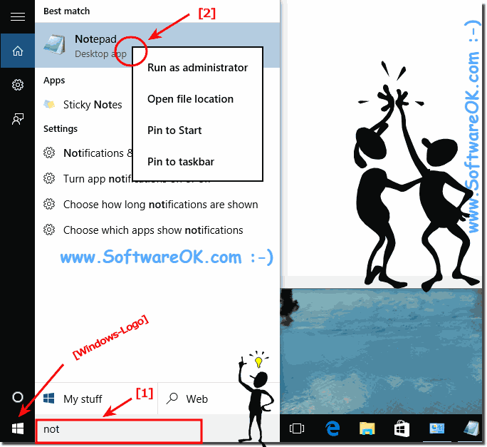 Open and Start the Notepad from windows 10 search box!
