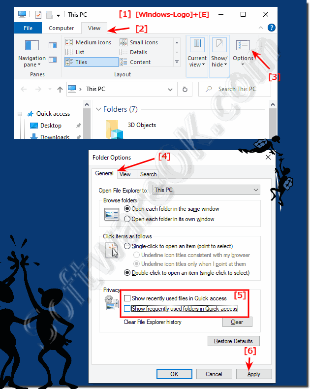 Show frequent folders in MS-Explorer (Windows 10 quick access)!