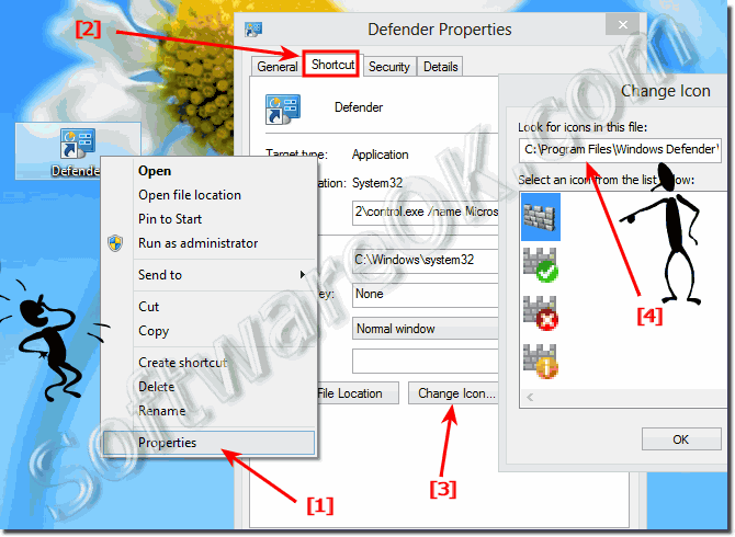 Create Desktop shortcut for Windows-8 Defender and pin to start menu!