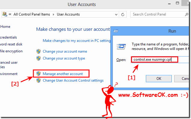 How can I change the administrator, Windows 8 (user)?