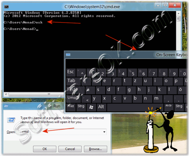 Call the On-Screen Keyboard over Windows-8 CMD