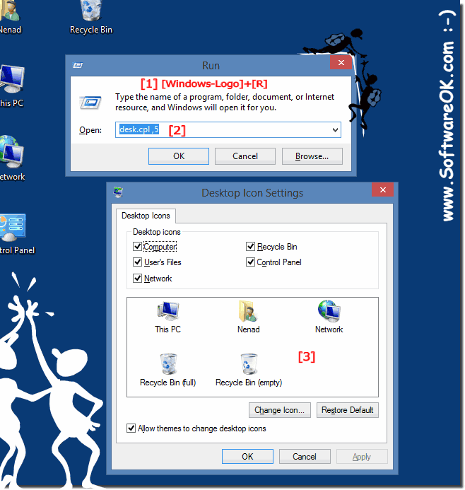 Show Windows 8 desktop icons via RUN cmd (command)