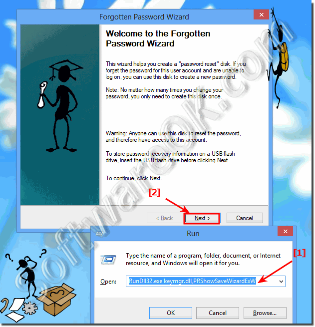 Start Forgotten Password Wizard in Windows 8.1, 8 and Server 2012!