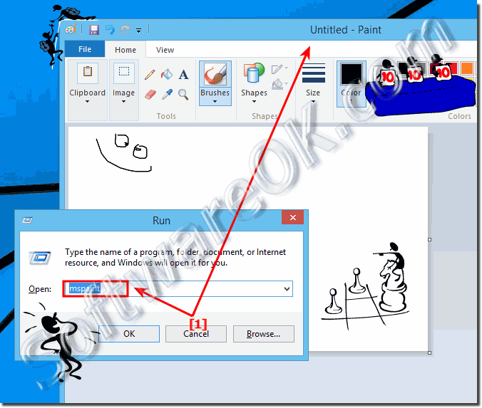 Start the mspaint program in Windows 8 or 8.1 find run and open!