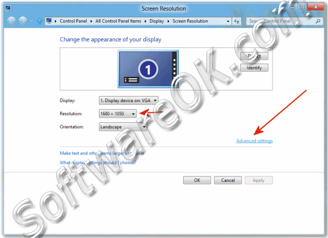 Windows-8 Screen Resolution Advance Settings