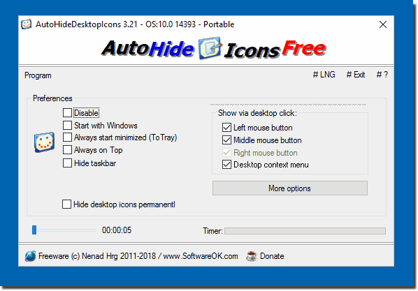 Free Software to Auto Hide Desktop Icons for Windows all OS!