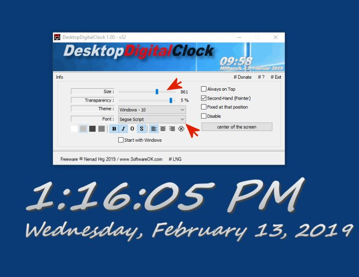 Digital Desktop Clock for all Windows OS
