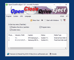 Safely remove drives and open close DVD, USB